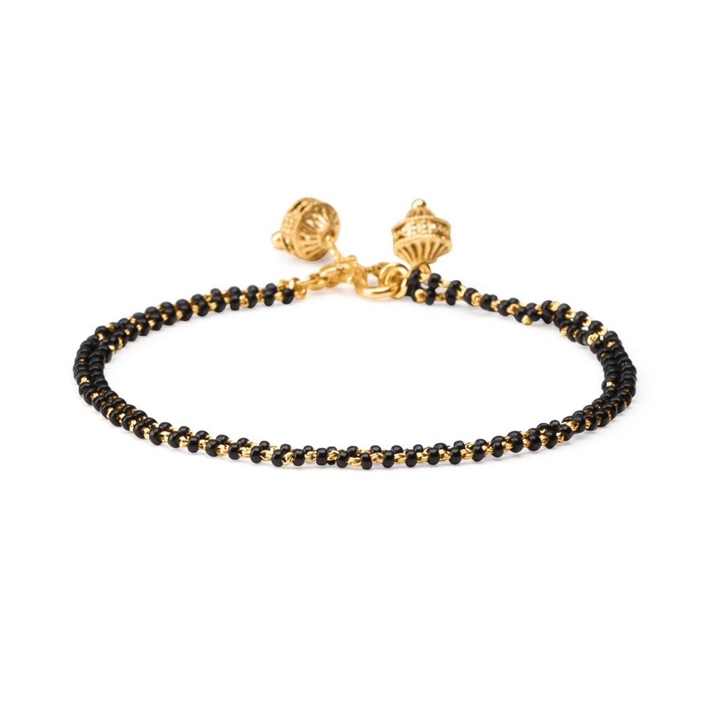 22ct Gold Light Double line Black Beads Ladies Bracelet YGBR074