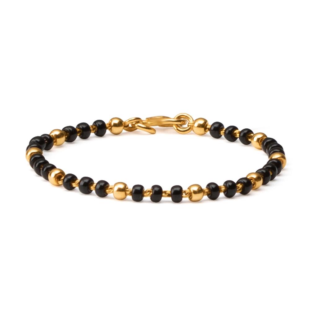 22ct Gold Light Black Beads Baby Bracelet YGBT025