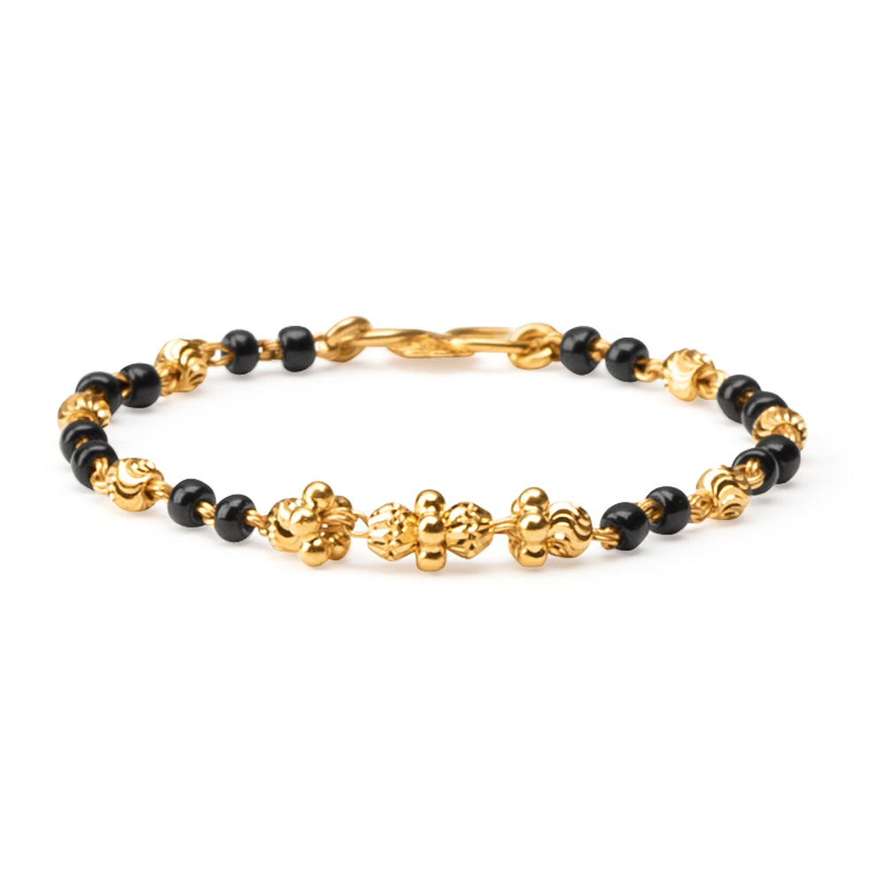 22ct Gold Light Black Beads Baby Bracelet YGBT053