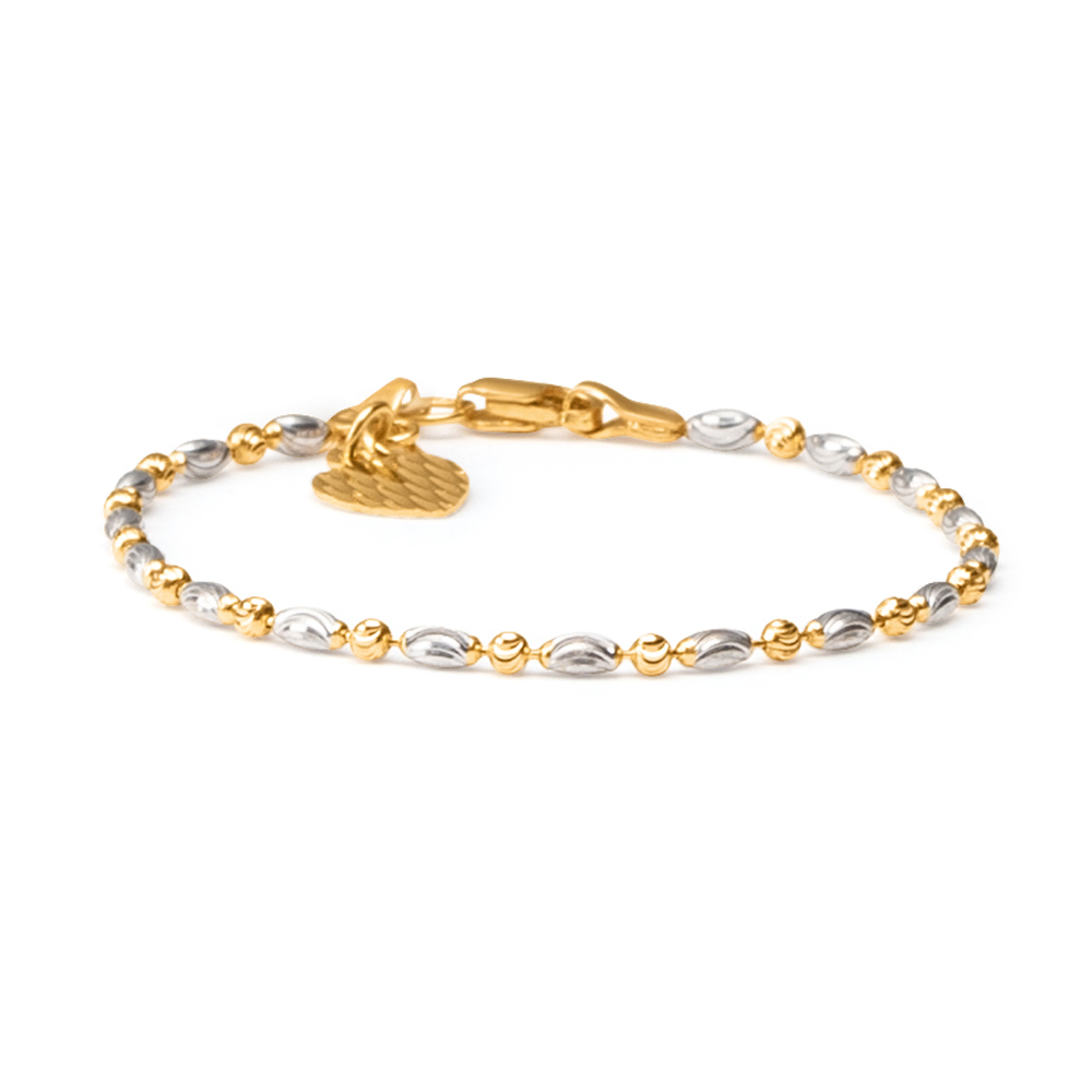22ct Gold Baby Bracelet Yellow and Rhodium Beads YGBT050