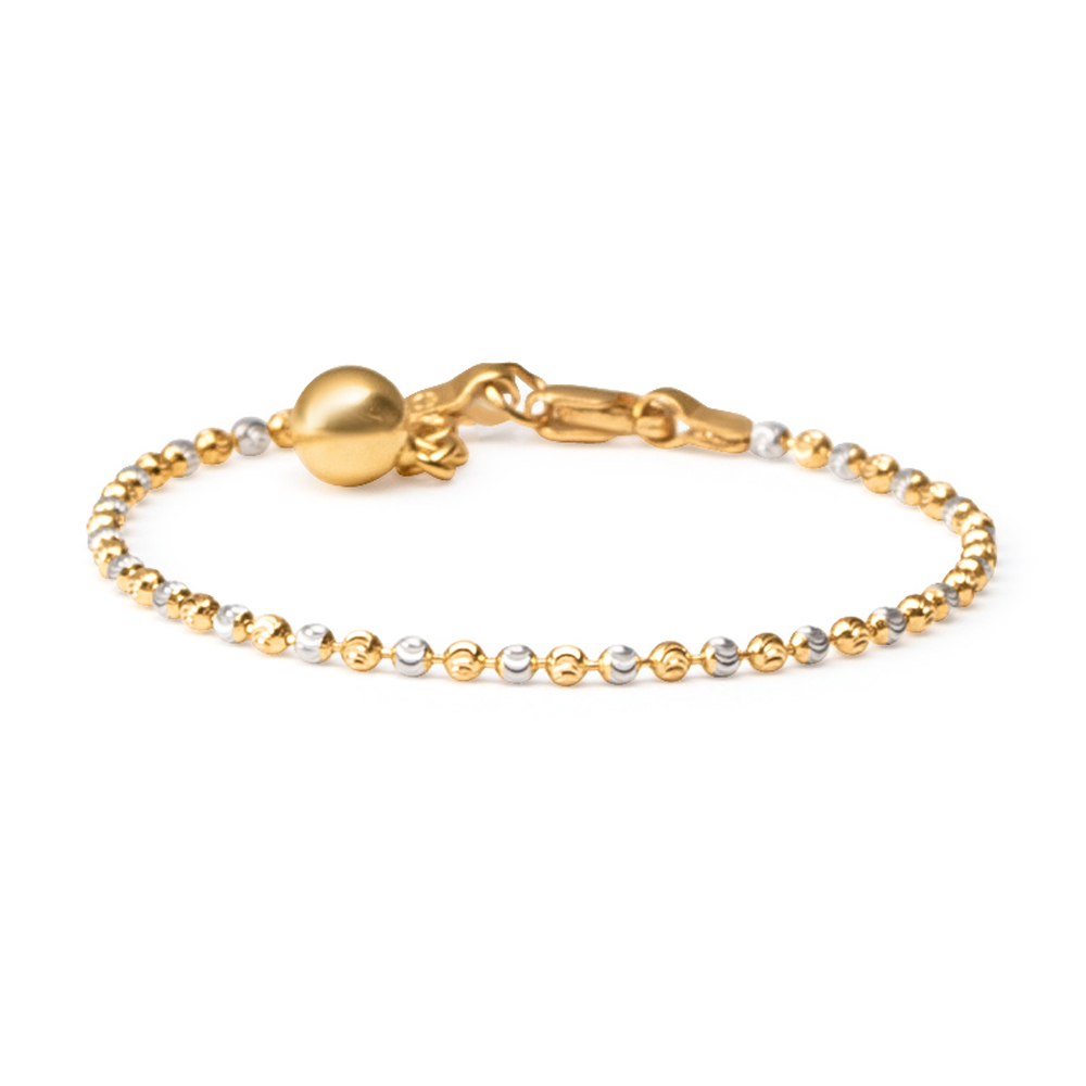 22ct Gold Baby Bracelet Yellow and Rhodium Beads YGBT049