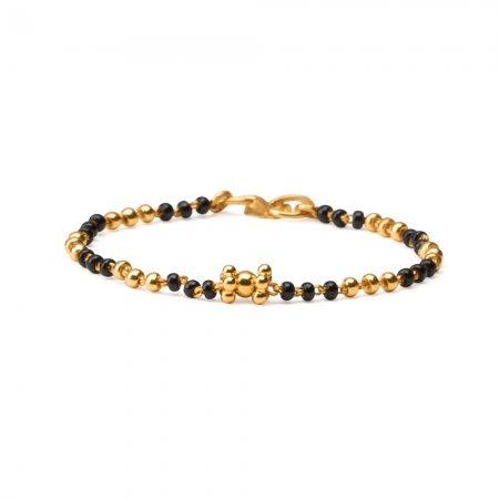 22ct Gold Baby Bracelet Black Beads YGBT042