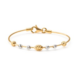 22ct Gold Baby Bangle Wired Ball YGBB046