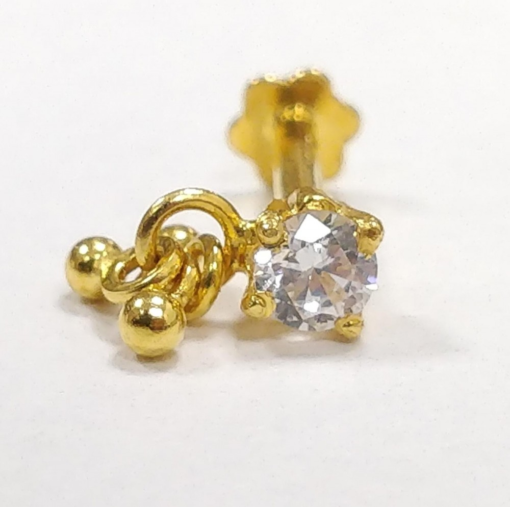22ct Gold White CZ Stone with Screw Back Nose Pin YGNP052