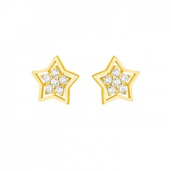 22ct Gold Light Star Shape With White CZ Stone Stud Earring YGER062