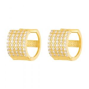 22ct Gold Light White CZ Stone Bali Earring YGER263