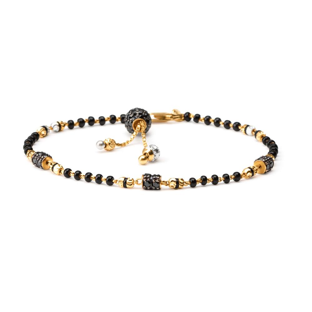 22ct Gold Medium Black Beads Ladies Bracelet YGBR005