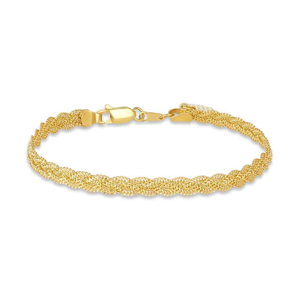 22ct Gold Medium Narrow Twisted Chain Ladies Bracelet YGBR013