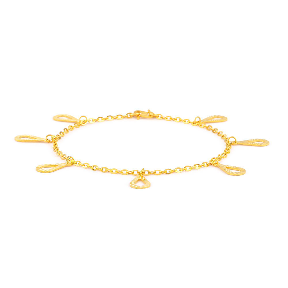 22ct Gold Light Pear Charm Ladies Bracelet YGBR133