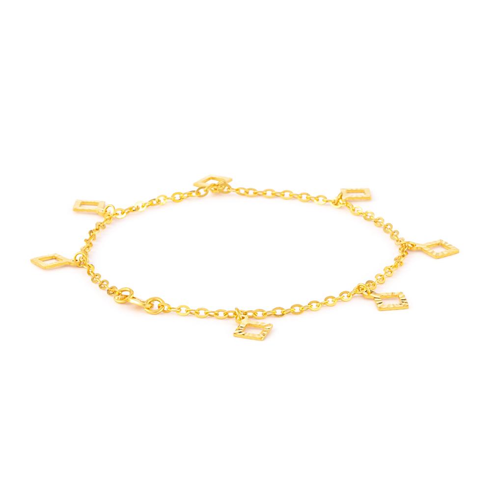 22ct Gold Square Charm Ladies Bracelet YGBR136