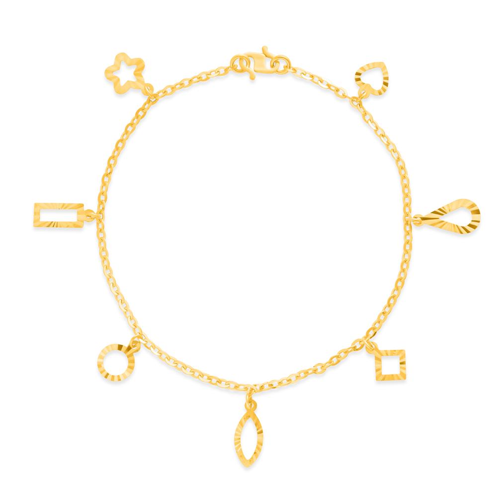 22ct Gold Light Mix Charm Ladies Bracelet YGBR135