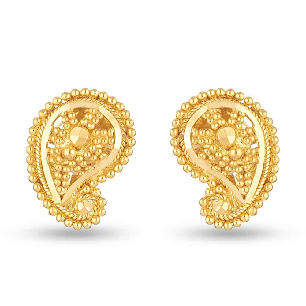 Jali 22ct light Keri Shape Jali Stud 5-10 mm Earring JLER339