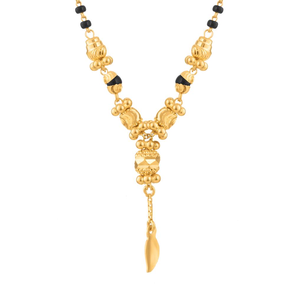 22ct Gold Mangalsutra Single line Drop Pendant YGMG127
