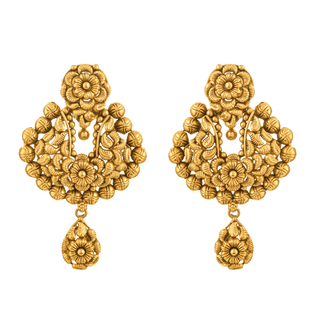 Rosettes 22ct Antique Heavy Flat Earring RSER082/32906