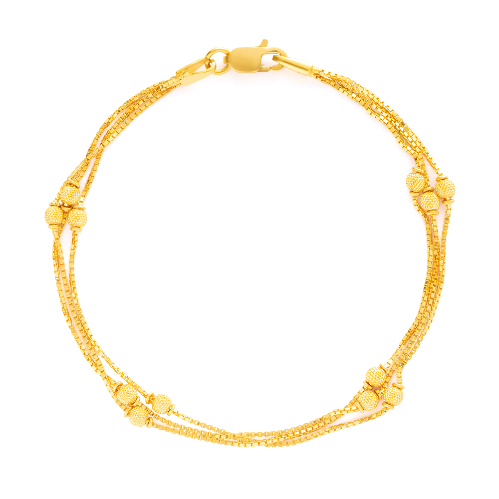 22ct Gold Ladies Bracelet Gold Bead YGBR120
