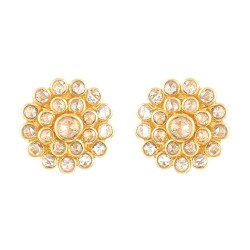 Diya Collection 22ct Gold Earring 4.3gm Uncut Polki Diamond 0.97ct