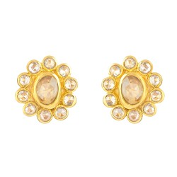Diya Collection 22ct Gold Earring 3.8gm Uncut Polki Diamond 0.64ct