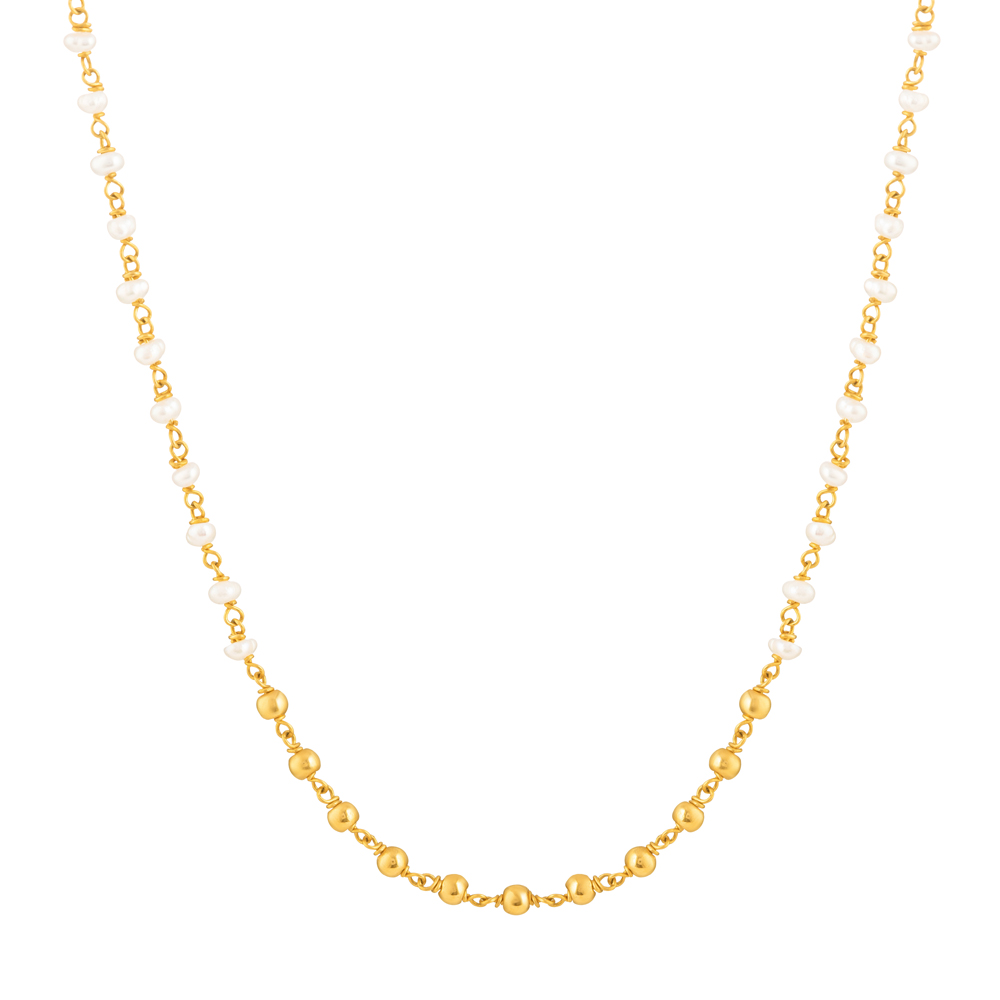 22ct Gold Medium Pearl Chain CHPL262