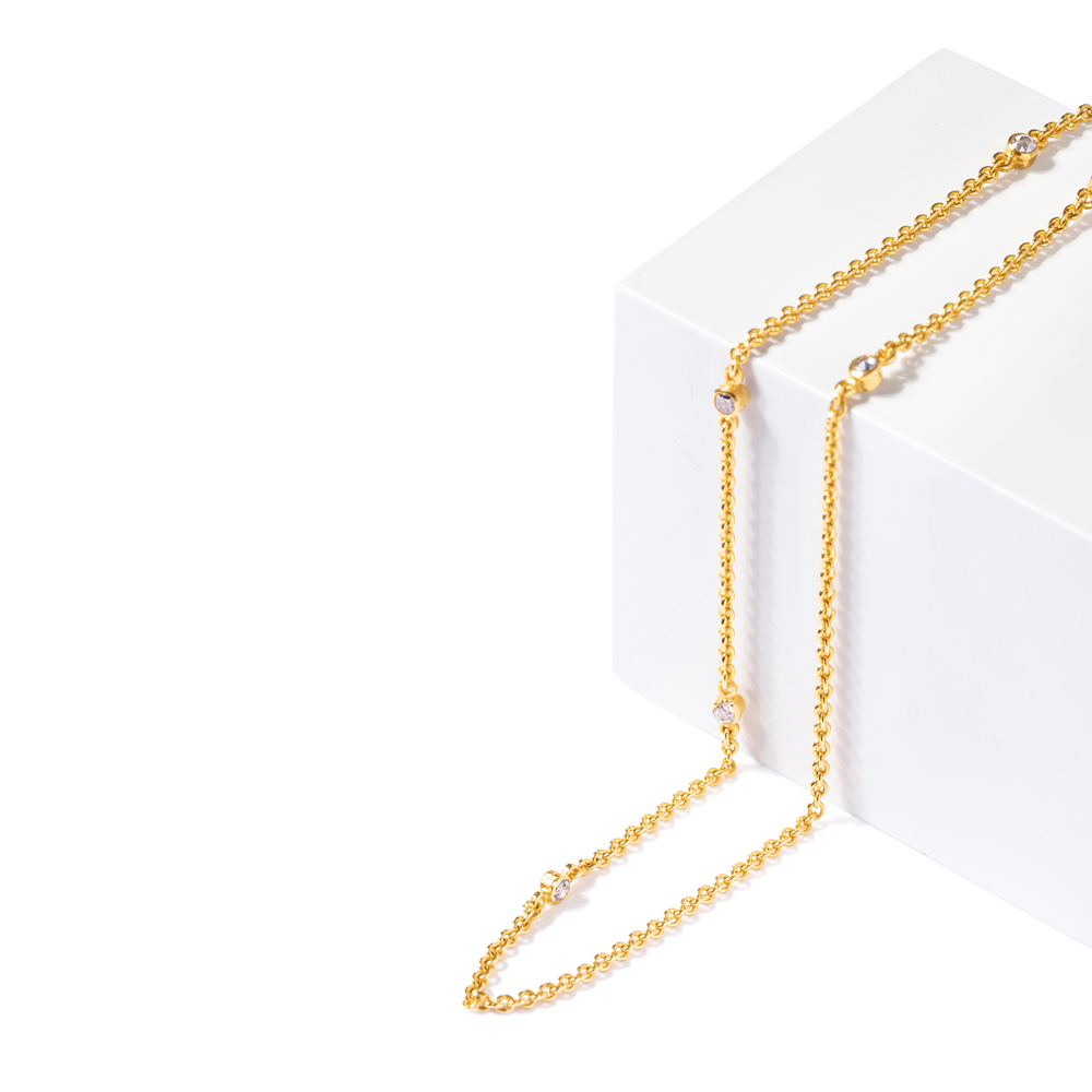 Diya 22ct Polki Chain with Drop Pendant Necklace DYNC094