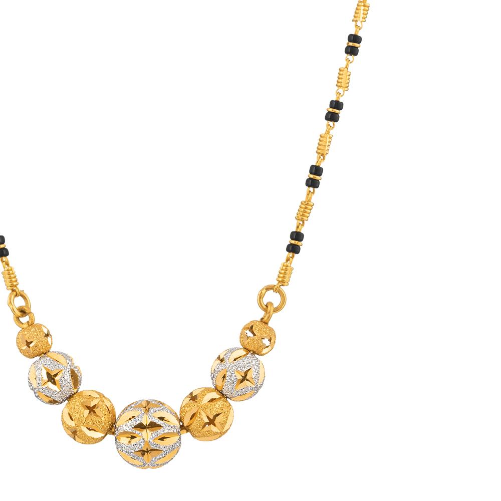 22ct Gold Medium Single line 7 Ball Pendant Mangalsutra YGMG076