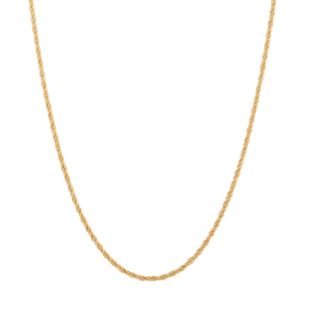 22ct Gold Chain 18 Inches Double line With Rhodium Rope CHRP226