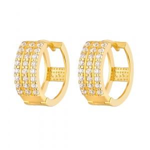 22ct Gold Light White CZ Stone Bali Earring YGER264