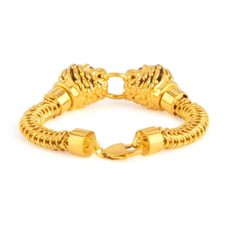 22ct Gold Medium Lion Gents Bracelet YGGB046