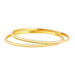 22ct Indian Gold Bangles Set of 2 bangles22ct Gold Hallmarked by London Assay OfficeSKU .32024  Wt. 8.7 g , Size 2.4 , Price . 609SKU .32022  Wt. 8.6 g , Size 2.4 , Price . 602Total price £ 1211 for 2 BanglesAlso available in set of 4 and set of 6. Chat with us for more details.Comes With Presentation BoxDelivery IncludedAll prices include VATLive chat with us for availability and more images of similar solid gold bangles designs currently in stock