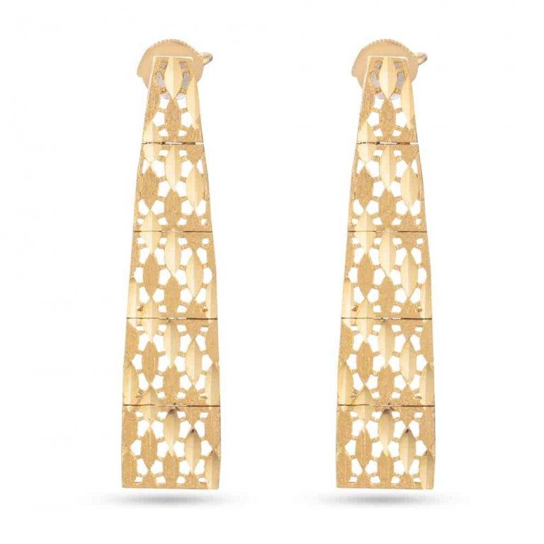 22ct Gold Diamond Cut Earring Flat YGER217