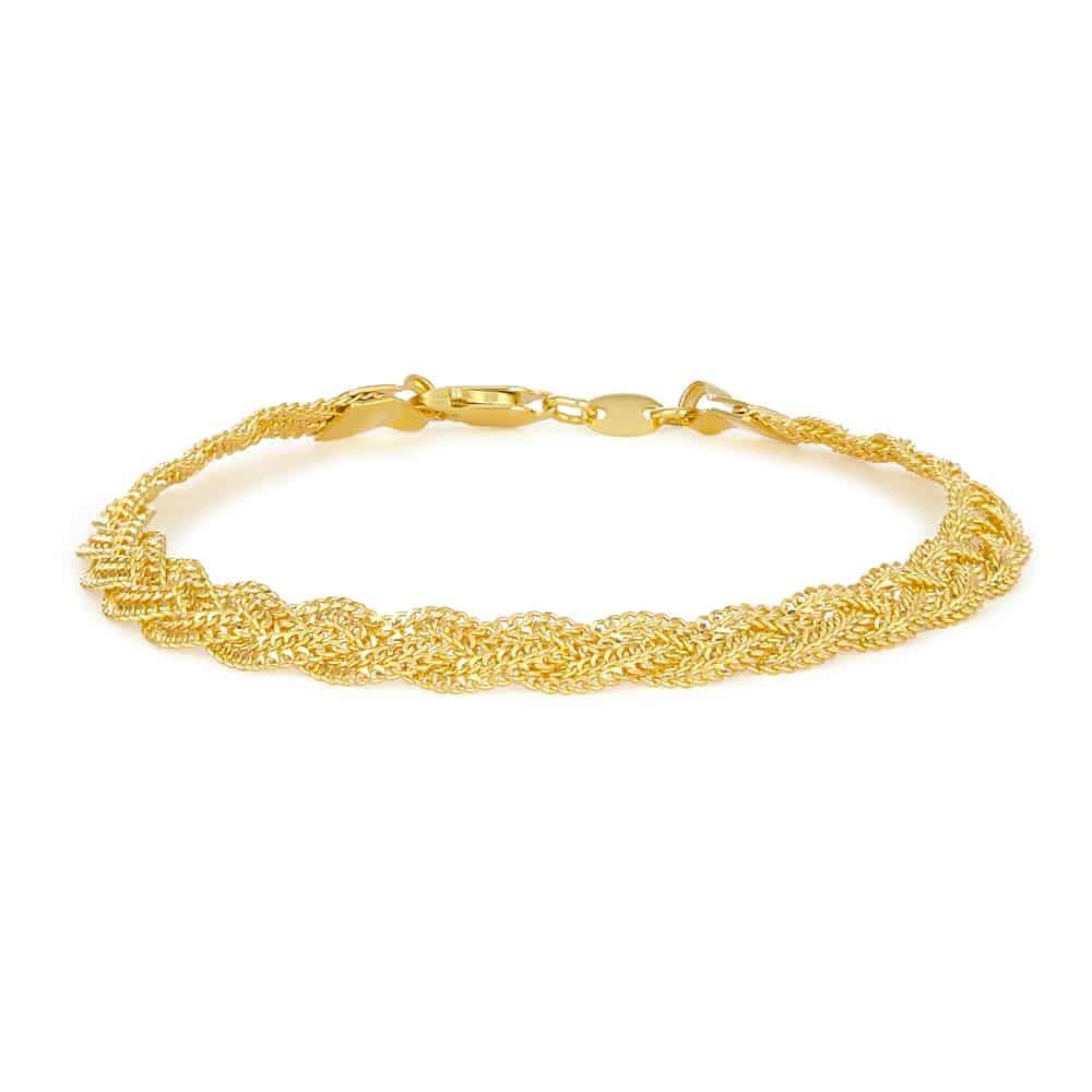 22ct Gold Ladies Bracelet Broad Twisted Chain YGBR095