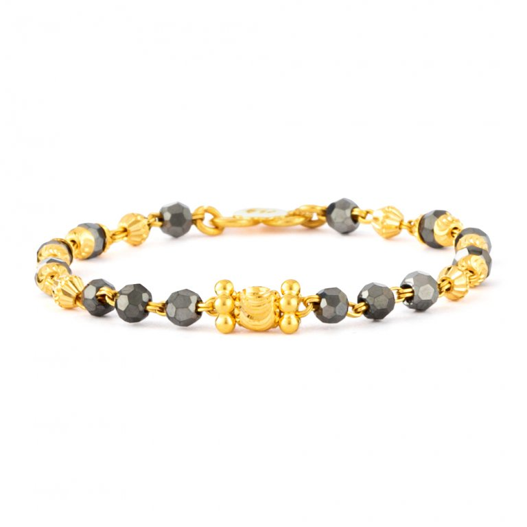22ct Gold Light Crystal Beads Baby Bracelet YGBT065
