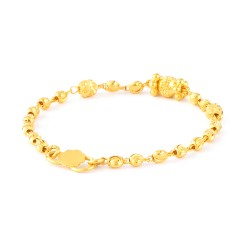 22ct Gold Light Yellow Beads Baby Bracelet YGBT071