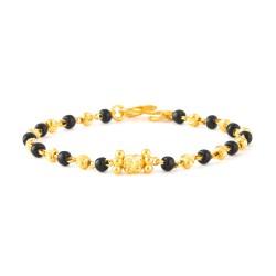 22ct Gold Light Black Beads Baby Bracelet YGBT001