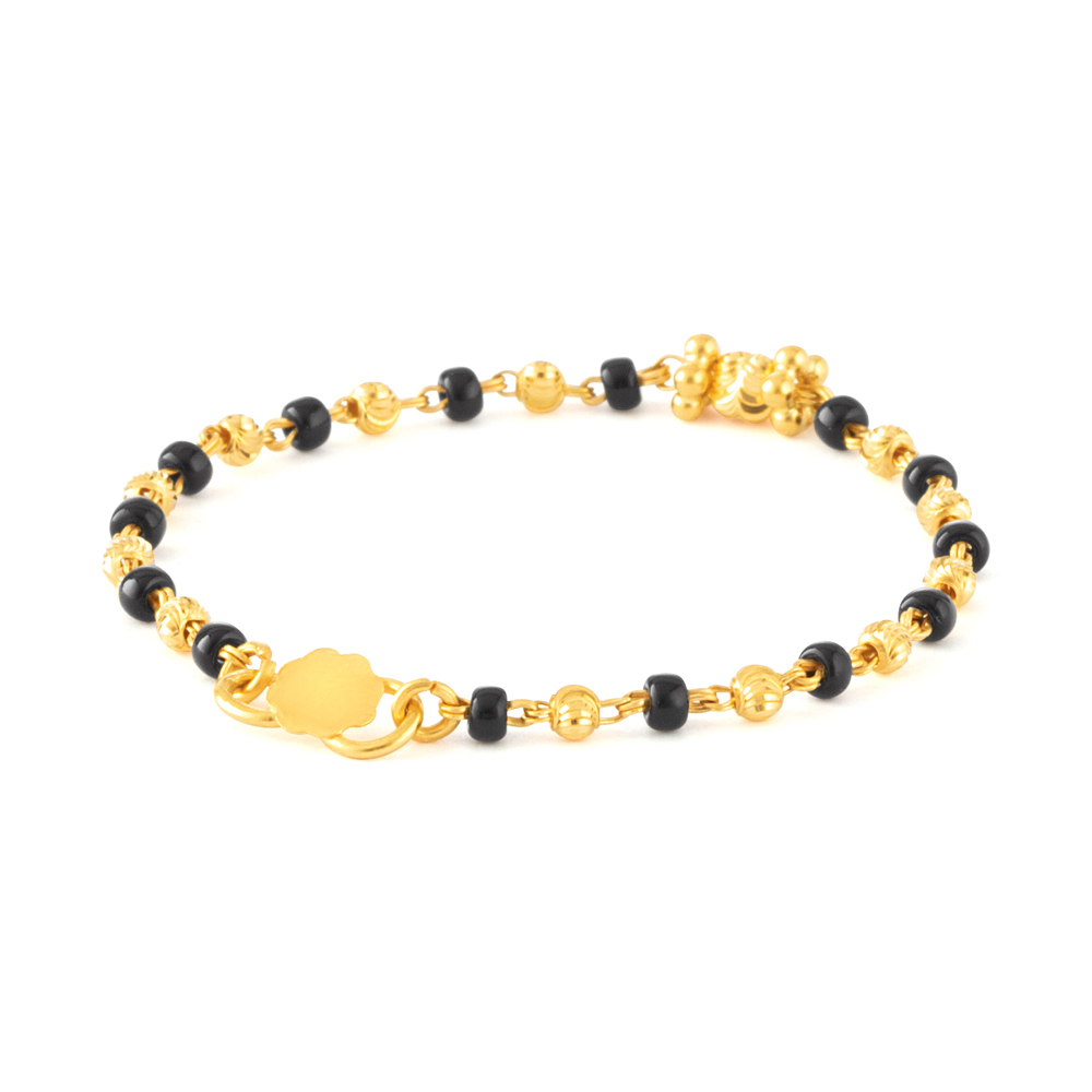 22ct Gold Light Black Beads Baby Bracelet YGBT001