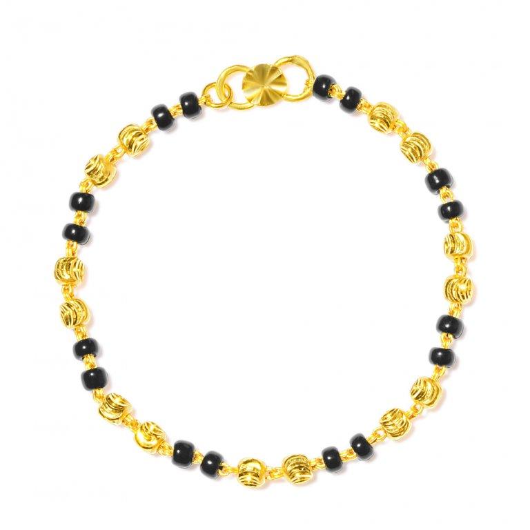 22ct Gold Light Black Beads Baby Bracelet YGBT058