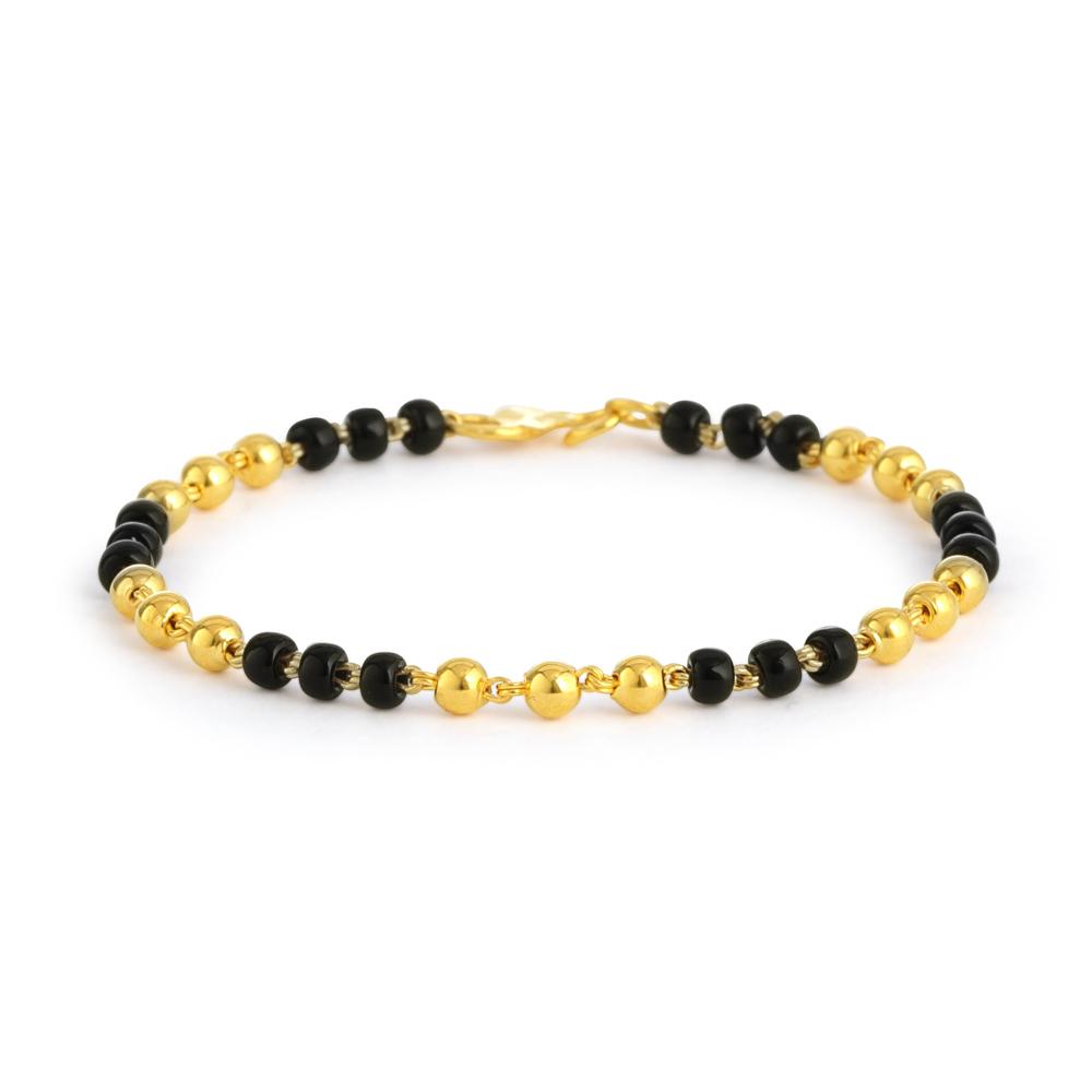 22ct Gold Light Black Beads Baby Bracelet YGBT063