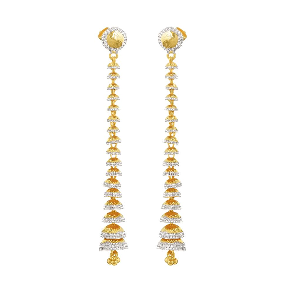 22ct Gold Medium Flat Rhodium Earring YGER285