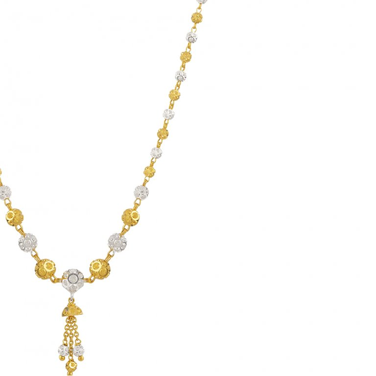 22ct Gold Medium Diamond Cut Balls with Droplets Choker YGCK067