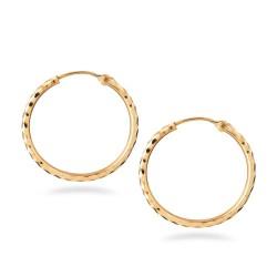 22ct Gold Light Diamond Cut Hollow Bali Earring TLER003