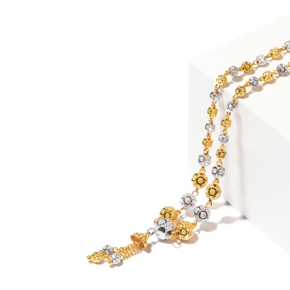 22ct Gold Medium Diamond Cut Balls with Droplets Choker YGCK067