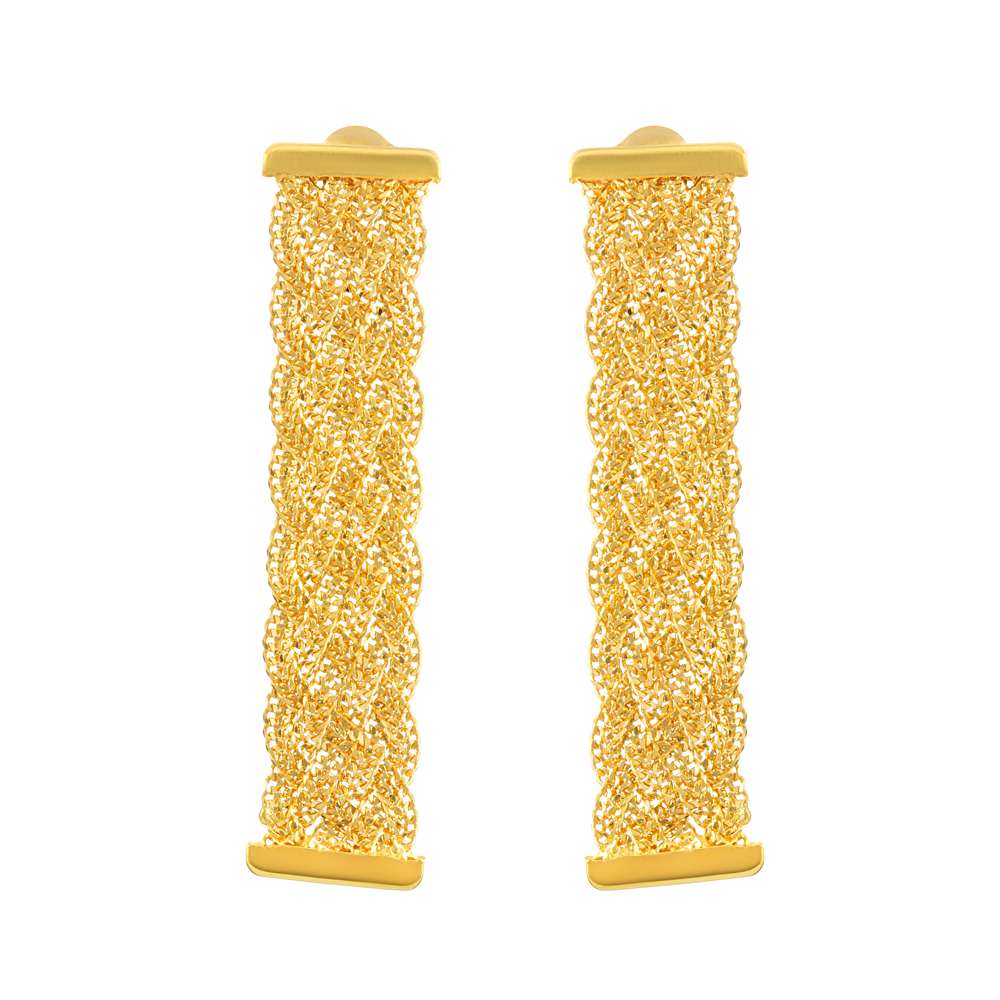 22ct Gold Twisted Earring Flat YGER230