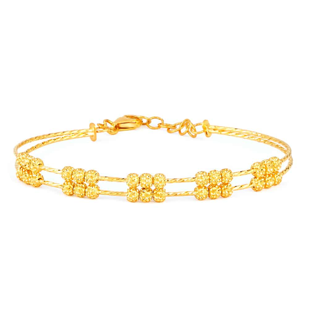 22ct Gold Ladies Bracelet Wired Ball YGBR100