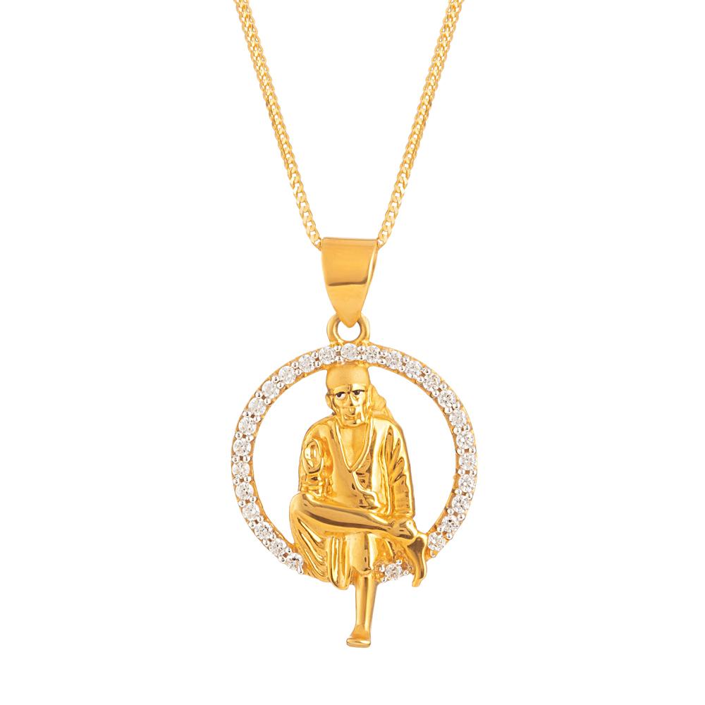 22ct Gold Pendant Sai Baba With CZ Stone YGPN195