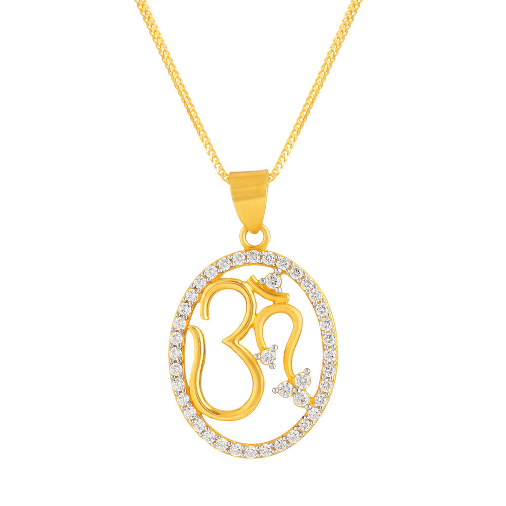 22ct Gold Pendant Om With CZ Stone YGPN180