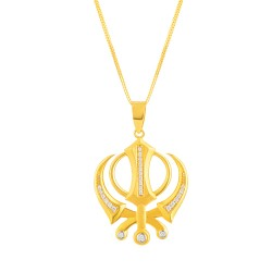 22ct Gold Pendant Khanda With CZ Stone YGPN163