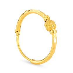 22ct Gold Diamond Cut 1 Ball Earring Bali YGER154