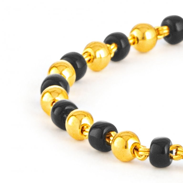 22ct Gold Light Black Beads Baby Bracelet YGBB060