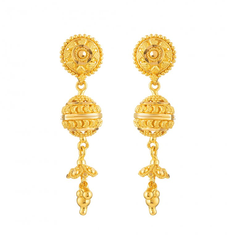 Jali Collection 22ct Gold Earring 7.6gm