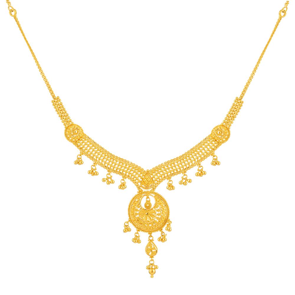 Jali 22ct light U Choker with a Drop Pendant/Stiff Neck Necklace JLNC609