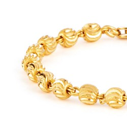 22ct Gold Light Yellow Beads Baby Bracelet YGBT076